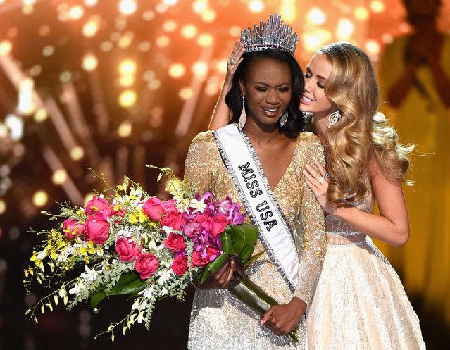 Miss District of Columbia USA 2016 Deshauna Barber reacts as she is crowned Miss USA 2016 by Miss USA 2015 Olivia Jordan during the 2016 Miss USA pageant at T-Mobile Arena on June 5, 2016 in Las Vegas, Nevada. (Photo by Ethan Miller/Getty Images)