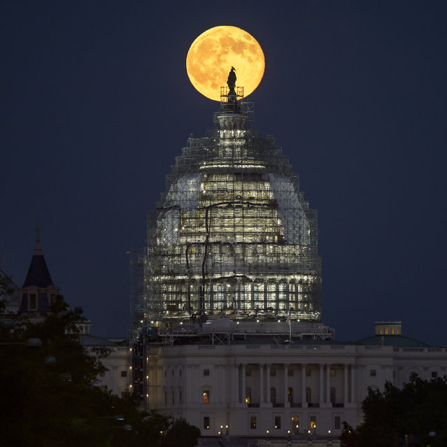 In this handout provided by the National Aeronautics and Space Administration (NASA), a second full moon for the month of July rises behind the dome of the U.S. Capitol on July 31, 2015 in Washington, DC. (Photo by Bill Ingalls/NASA via Getty Images)