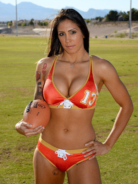 Defensive end/linebacker La Chelle Foreman #13 poses during media day for the Las Vegas Sin of the Legends Football League at Charlie Frias Park on May 13, 2014 in Las Vegas, Nevada. (Photo by Ethan Miller/Getty Images)