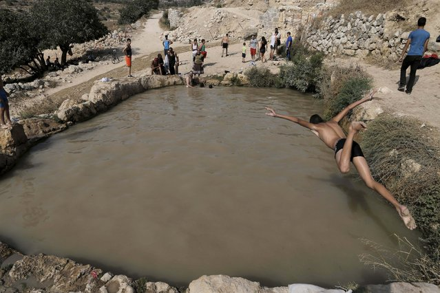 A Palestinian youth jumps into a natural spring water pool to cool off on a hot day, near the West Bank village of Beit Jala August 3, 2015. (Photo by Ammar Awad/Reuters)