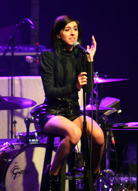 """In this March 2, 2016 file photo, Christina Grimmie performs as the opener for Rachel Platten at Center Stage Theater, in Atlanta. Florida authorities say """"The Voice"""" star Grimmie is in critical condition after being shot at a concert venue in Orlando by a suspect who then fatally shot himself after being tackled by the singer-songwriter's brother. Orlando Police Department officials tell WKMG-TV  that Grimmie was shot Friday night, June 10, 2016, at The Plaza Live, where she was scheduled to perform. (Photo by Katie Darby/Invision/AP Photo)"""