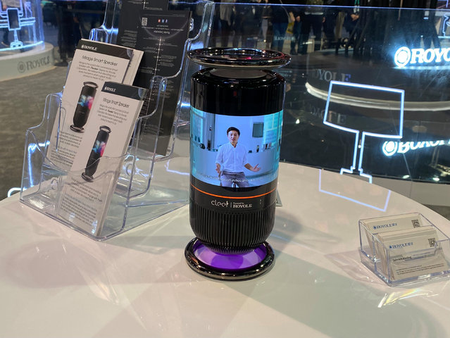 The Mirage smart speaker with wrap-around screen, made by the Royole Corporation at the 2020 Consumer Electronics Show (CES) in Las Vegas, Nevada on January 9, 2020. (Photo by Martyn Landi/PA Wire Press Association)