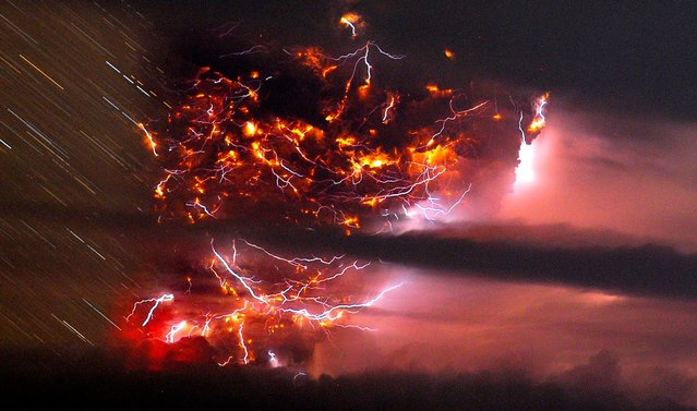 Lightning flashes amid a cloud of ash billowing from Puyehue volcano near Osorno, Chile, on June 5, 2011