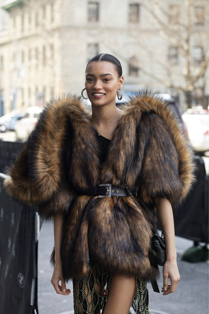 Model Lameka Fox arrives for a show during Fashion Week, Wednesday, February 12, 2020, in New York. (Photo by Mark Lennihan/AP Photo)