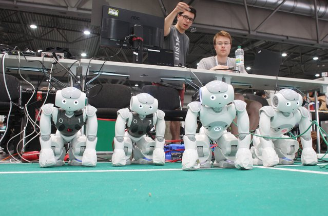 Robots that can play soccer are ready for the match at the 20th RoboCup in a hall on the fairgrounds in Leipzig, Germany, June 29, 2016. (Photo by Sebastian Willnow/EPA)