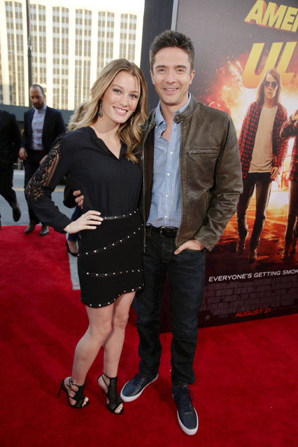 """Ashley Hinshaw and Topher Grace seen at The World Premiere of Lionsgate's """"American Ultra"""" at Ace Hotel on Tuesday, August 18, 2015, in Los Angeles, CA. (Photo by Eric Charbonneau/Invision for Lionsgate/AP Images)"""