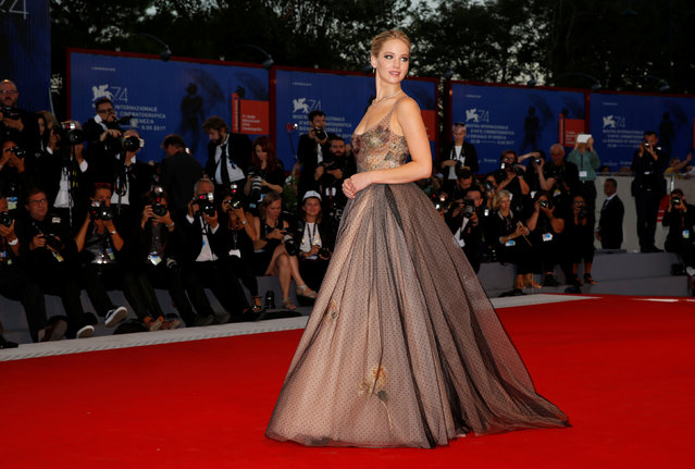 """Actor Jennifer Lawrence poses during a red carpet for the movie """"Mother!"""" at the 74th Venice Film Festival in Venice, Italy on September 5, 2017. (Photo by Alessandro Bianchi/Reuters)"""