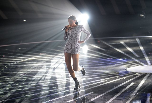 Jessie J. performs on stage at the MTV Video Music Awards (VMA), August 24, 2014 at The Forum in Inglewood, California. (Photo by Robyn Beck/AFP Photo)