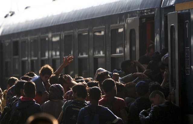 Migrants storm into a train at the Keleti train station in Budapest, Hungary, September 3, 2015 as Hungarian police withdrew from the gates after two days of blocking their entry. (Photo by Bernadett Szabo/Reuters)