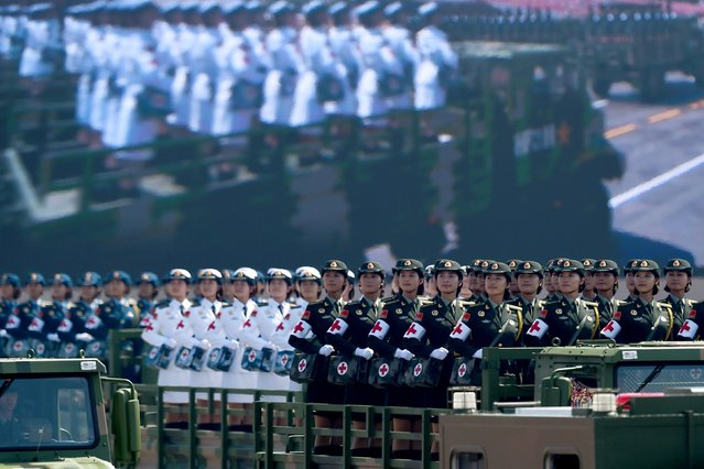 Chinese People's Liberation Army personnel participate in a military parade at Tiananmen Square in Beijing on September 3, 2015, to mark the 70th anniversary of victory over Japan and the end of World War II. (Photo by Wang Zhao/Reuters)