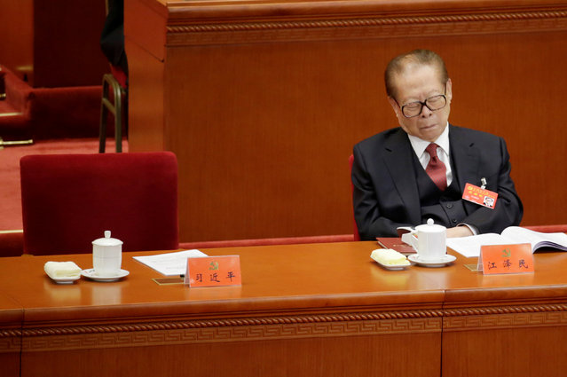 Former Chinese President Jiang Zemin attends the opening session of the 19th National Congress of the Communist Party of China at the Great Hall of the People in Beijing, China on October 18, 2017. (Photo by Jason Lee/Reuters)