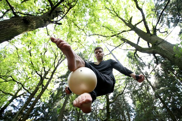 Anton Mikheyev, an artist of the Moscow Circus on Tsvetnoy Boulevard, trains in a forest amid the self-isolation regime in Moscow Region, Russia on June 7, 2020. (Photo by Vyacheslav Prokofyev/TASS)