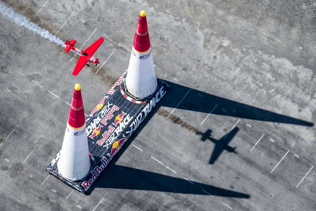 Pete McLeod of Canada performs during the training session for the seventh stage of the Red Bull Air Race World Championship at the Las Vegas Motor Speedway in Las Vegas, Nevada, United States on October 11, 2014. (Photo by Andreas Langreiter/Red Bull via Getty Images)