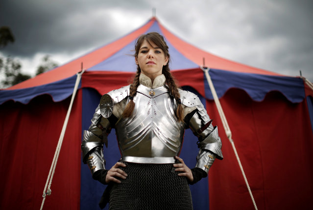 Australian jouster Kimberly Belcher poses for a portrait in her armour on the sidelines of the jousting tournament at the St Ives Medieval Fair in Sydney, one of the largest of its kind in Australia, September 22, 2016. (Photo by Jason Reed/Reuters)