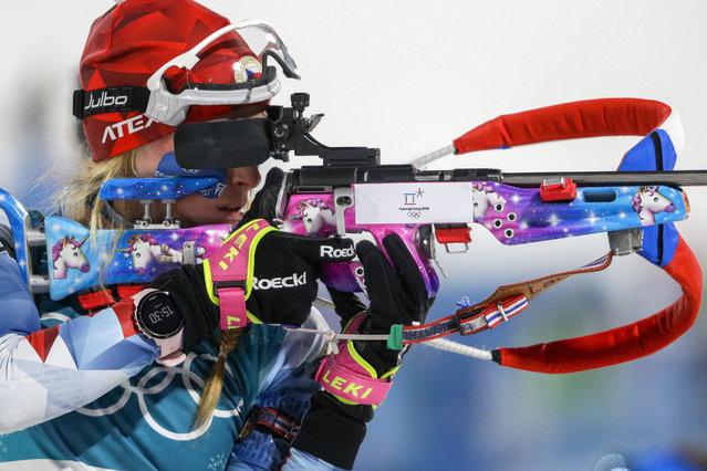 Marketa Davidova, of the Czech Republic, practices shooting before the women's 10-kilometer biathlon pursuit at the 2018 Winter Olympics in Pyeongchang, South Korea, Monday, February 12, 2018. (Photo by Gregorio Borgia/AP Photo)