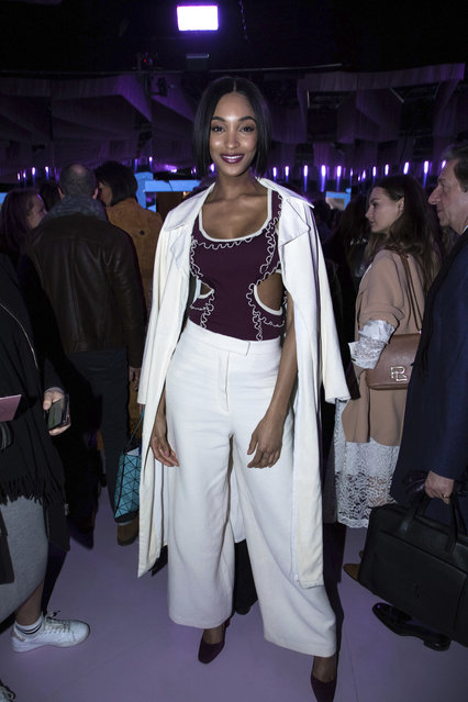Model Jourdan Dunn poses for photographers after the Mulberry Autumn/Winter 2018 fashion week runway show in London, Friday, February 16, 2018.(Photo by Vianney Le Caer/Invision/AP Photo)