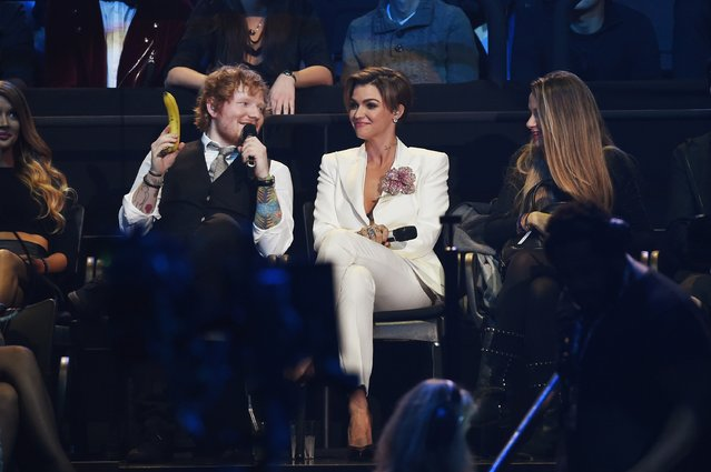 Co-hosts, musician Ed Sheeran and actress Ruby Rose appear on stage during the MTV EMA's 2015 at the Mediolanum Forum on October 25, 2015 in Milan, Italy. (Photo by Brian Rasic/Getty Images for MTV)