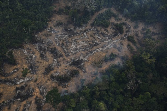 An aerial view of a deforested plot of the Amazon at the Bom Futuro National Forest in Porto Velho, Rondonia State, Brazil, September 3, 2015. (Photo by Nacho Doce/Reuters)