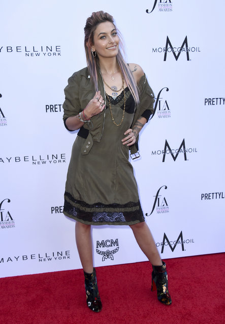 Paris Jackson arrives at the Daily Front Row's Fashion Los Angeles Awards at the Beverly Hills Hotel on Sunday, April 8, 2018, in Beverly Hills, Calif. (Photo by Jordan Strauss/Invision/AP Photo)