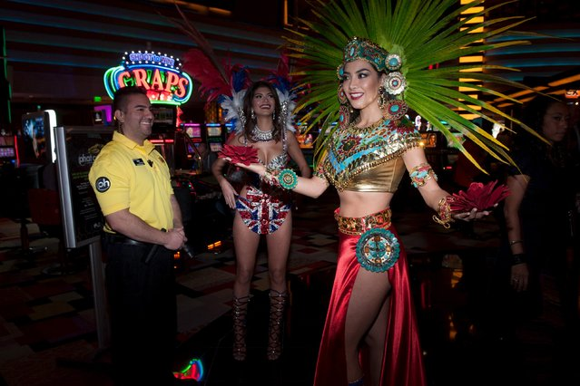 Miss Great Britain 2015 Narissara Nena France and Miss Mexico 2015 Wendy Esparza film in their National Costume at Planet Hollywood Resort and Casino in Las Vegas, Nevada, December 8, 2015. (Photo by Patrick Prather/Reuters/The Miss Universe Organization)