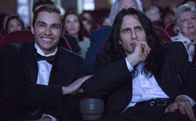 "This image released by A24 shows Dave Franco, left, and James Franco in a scene from ""The Disaster Artist"".  On Monday, December 11, 2017, James Franco was nominated for a Golden Globe for best actor in a motion picture comedy or musical for his role in the film. The 75th Golden Globe Awards will be held on Sunday, Jan. 7, 2018 on NBC. (Photo by Justina Mintz/A24 via AP Photo)"