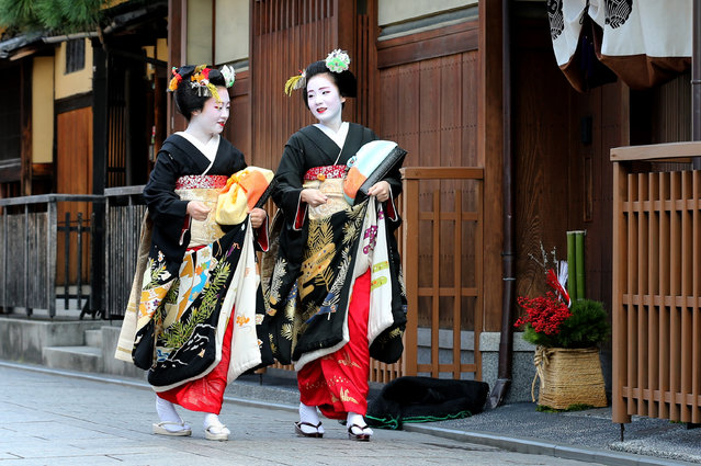 Japanese traditional female dancers, maikos, and performers, geikos walk in the street during the new year's ceremony at the Gion Kobu Kaburenjo Theater on January 7, 2016 in Kyoto, Japan. At the new year's ceremony, maikos, geikos, and the masters of their schools all gather in one place and celebrate the start of new year's operation and announce the best performing dancers, performers, and best tea houses of the previous year. (Photo by Buddhika Weerasinghe/Getty Images)
