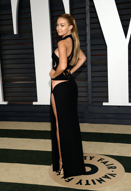 Gigi Hadid arrives at the 2015 Vanity Fair Oscar Party on Sunday, February 22, 2015, in Beverly Hills, Calif. (Photo by Evan Agostini/Invision/AP Photo)