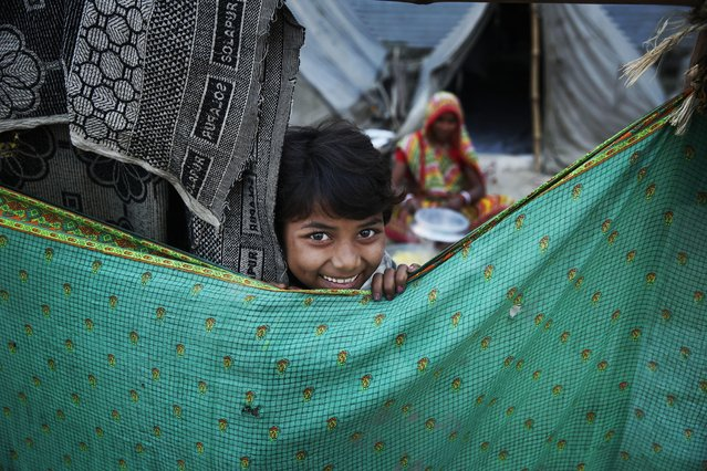 A young Indian girl peeps from behind a curtain at a temporary tent set up on the banks of Sangam, the confluence of the Ganges, Yamuna and mythical Saraswati River, during the Makar Sankranti festival in Allahabad, India, Friday, January 15, 2016. Makar Sankranti marks the beginning of the sun's northward movement according to the solar calendar and considered to be auspicious. (Photo by Rajesh Kumar Singh/AP Photo)