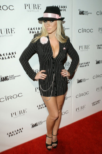 Kendra Wilkinson attends a Halloween party at PURE Nightclub hosted by Heidi Montag on October 30, 2010 in Las Vegas, Nevada. (Photo by Jesse Grant/WireImage)