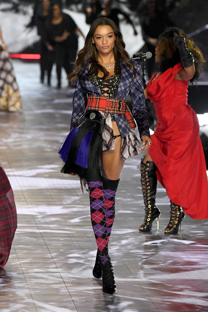 Lameka Fox walks the runway during the 2018 Victoria's Secret Fashion Show at Pier 94 on November 8, 2018 in New York City. (Photo by Kevin Mazur/WireImage)