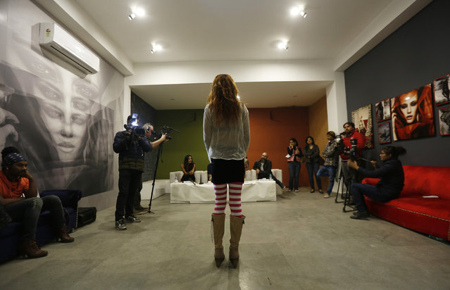 An aspiring model takes questions from judges during auditions for a transgender/transsexual modelling agency set to open in New Delhi, India, February 7, 2016. (Photo by Adnan Abidi/Reuters)
