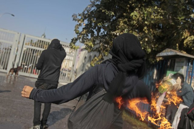 A masked demonstrator readies to throw a petrol bomb towards the police during a protest in Santiago, Chile, Thursday, April 16, 2015. (Photo by Luis Hidalgo/AP Photo)