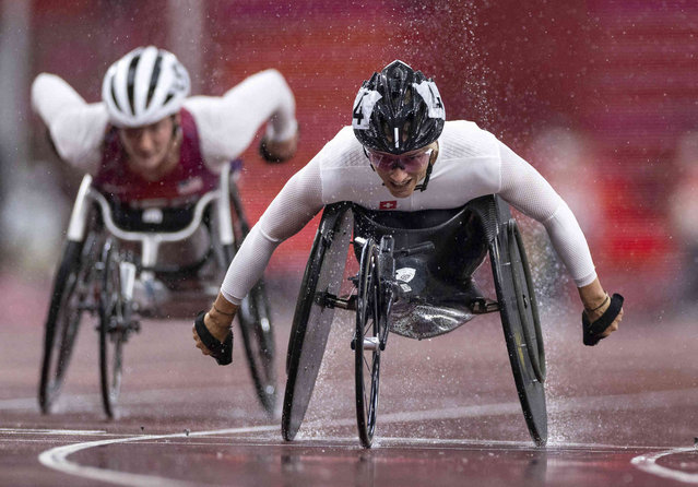 Manuela Schaer SUI wins the Women's 400m - T54 Athletics Final at the Olympic Stadium during the Tokyo 2020 Paralympic Games on Thursday, September 2, 2021. (Photo by Simon Bruty for OIS via AP Photo)