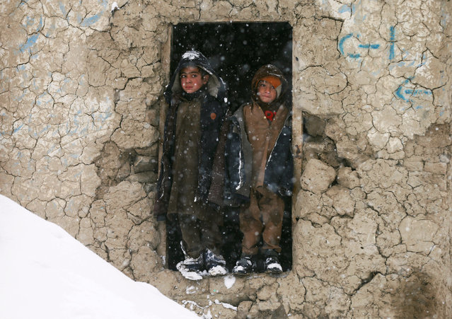 Internally displaced Afghan boys stand outside their shelter during a snowfall in Kabul, Afghanistan January 10, 2019. (Photo by Mohammad Ismail/Reuters)