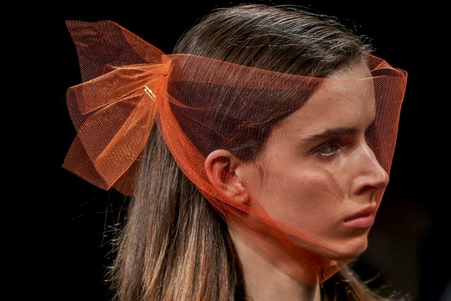"""A model displays a creation by Portuguese fashion designer Artur Dias """"Opiar"""" on the first day of the Lisbon Fashion Week in Lisbon, Portugal, 08 March 2019. (Photo by Jose Sena Goulao/EPA/EFE)"""