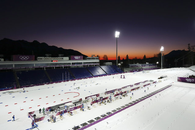 Biathletes train at Laura Cross-country Ski & Biathlon Center ahead of the 2014 Winter Olympics, Monday, February 3, 2014, in Krasnaya Polyana, Russia. (Photo by Felipe Dana/AP Photo)