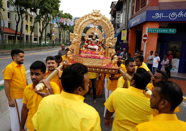 Devotees take part in a procession during the Hindu festival of Thaipusam in Singapore February 9, 2017. (Photo by Edgar Su/Reuters)