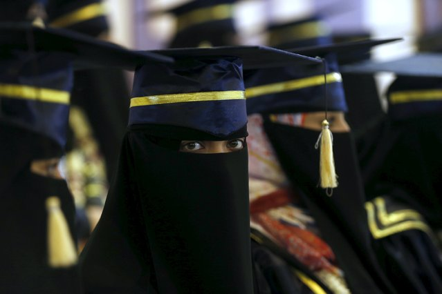 A strudent looks as she attends an annual award ceremony for top high school students organized by Yemen's Education Ministry in Sanaa March 23, 2016. (Photo by Khaled Abdullah/Reuters)