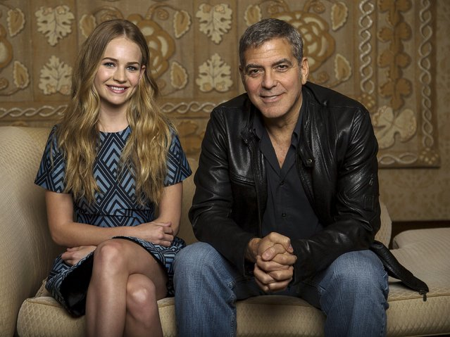"Cast members George Clooney and Britt Robertson pose for a portrait while promoting their upcoming movie ""Tomorrowland"" in Beverly Hills, California May 8, 2015. (Photo by Mario Anzuoni/Reuters)"