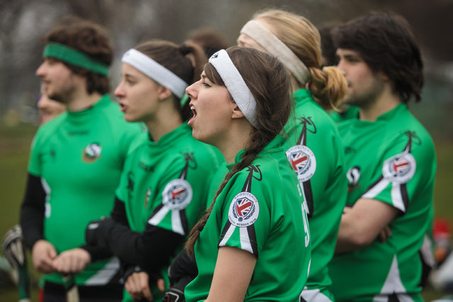 The Keele Squirrels quidditch team shout from the sidelines during the Crumpet Cup quidditch tournament on Clapham Common on February 18, 2017 in London, England. (Photo by Jack Taylor/Getty Images)