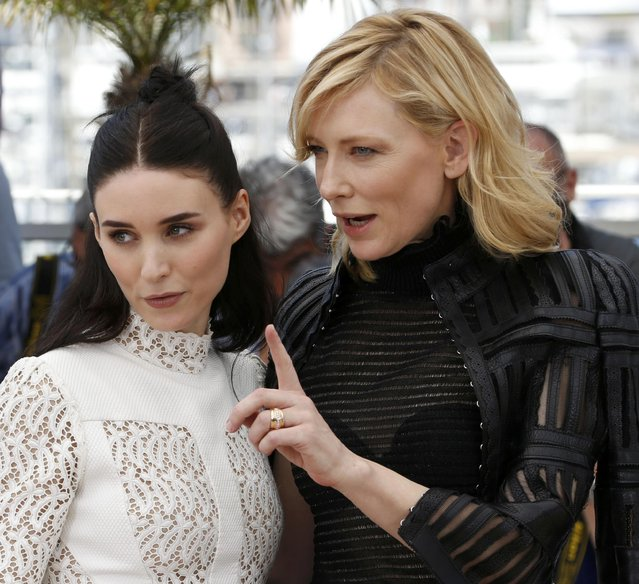 "Cast members Rooney Mara (L) and Cate Blanchett pose during a photocall for the film ""Carol"" in competition at the 68th Cannes Film Festival in Cannes, southern France, May 17, 2015. (Photo by Regis Duvignau/Reuters)"