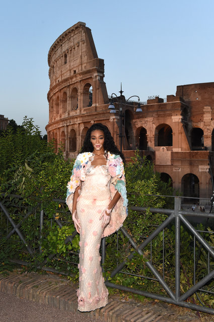Winnie Harlow attends the Cocktail at Fendi Couture Fall Winter 2019/2020 on July 04, 2019 in Rome, Italy. (Photo by Stefania M. D'Alessandro/Getty Images for Fendi)