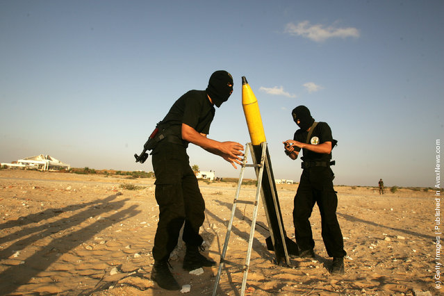 A rocket, similar to the Al-Qassam rockets used against Israeli is prepared for launch