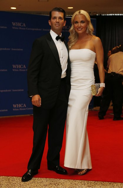 Donald Trump Jr. and wife Vanessa arrive on the red carpet for the annual White House Correspondents Association Dinner in Washington, U.S., April 30, 2016. (Photo by Jonathan Ernst/Reuters)