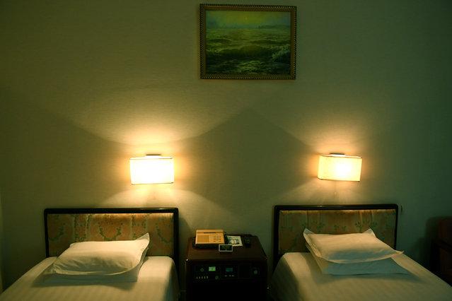 View of a guest room at the Yanggakdo International Hotel in Pyongyang, North Korea on May 3, 2016. (Photo by Linda Davidson/The Washington Post)