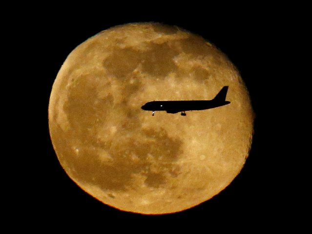 A plane descending onto New York City's La Guardia Airport crosses in front of the moon rising in its waning gibbous stage seen from The Heights neighborhood of Jersey City, N.J., Saturday, April 23, 2016. (Photo by Julio Cortez/AP Photo)