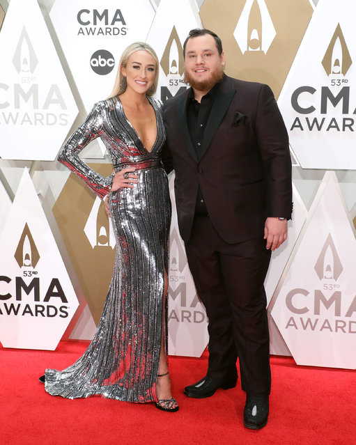 Nicole Hocking and Luke Combs attend the 53nd annual CMA Awards at Bridgestone Arena on November 13, 2019 in Nashville, Tennessee. (Photo by Taylor Hill/Getty Images)