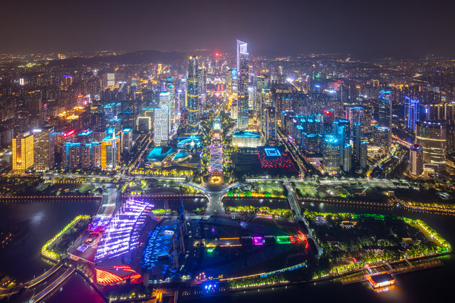 Ariel view of illuminated buildings during Guangzhou International Light Festival 2019 on November 18, 2019 in Guangzhou, Guangdong Province of China. (Photo by Chen Hui/Southern Metropolis Daily/VCG via Getty Images)