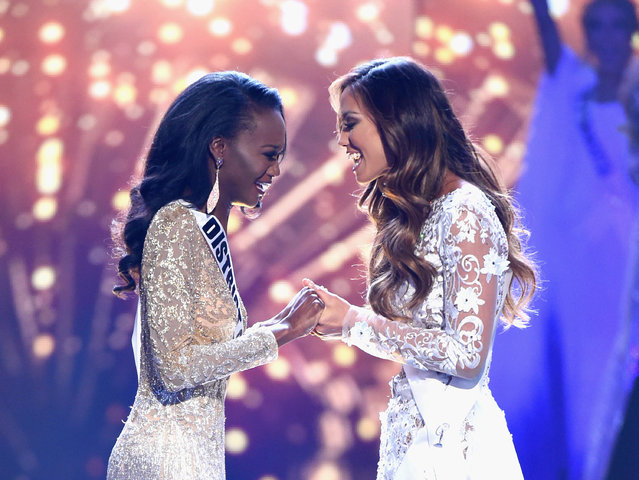 Miss District of Columbia USA 2016 Deshauna Barber (L) and Miss Hawaii USA 2016 Chelsea Hardin hold hands as Miss District of Columbia USA 2016 Deshauna Barber is named Miss USA 2016 during the 2016 Miss USA pageant at T-Mobile Arena on June 5, 2016 in Las Vegas, Nevada. (Photo by Ethan Miller/Getty Images)