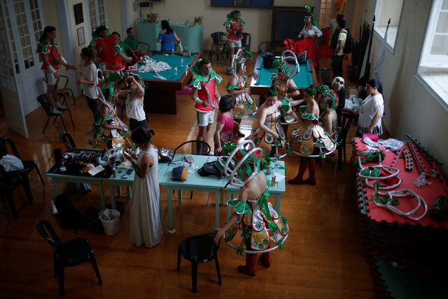 Members of Alfama's group are prepared before going to the Saint Anthony's Parade  in Lisbon, Portugal June 12, 2016. (Photo by Rafael Marchante/Reuters)